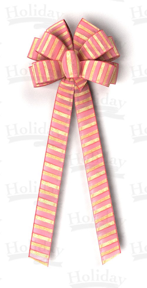 #40 Ten Loop Wired Sheer with Gold Stripe Bow/RED