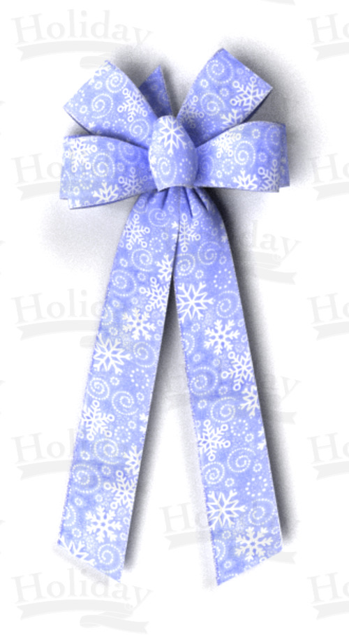 #40 Six Loop Sheer Snowflakes Bow/BLUE/PATTERN C