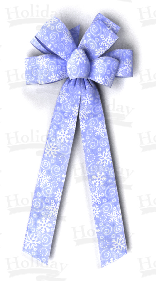 #40 Eight Loop Sheer Snowflakes Bow/BLUE/PATTERN C - Click Image to Close