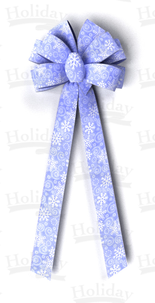 #40 Ten Loop Sheer Snowflakes Bow/BLUE/PATTERN C