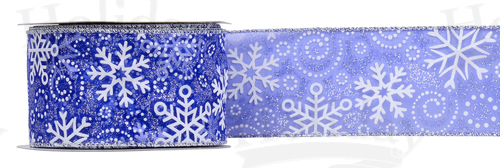 #40 Sheer Snowflakes Ribbon/25 yds/BLUE/PATTERN C - Click Image to Close