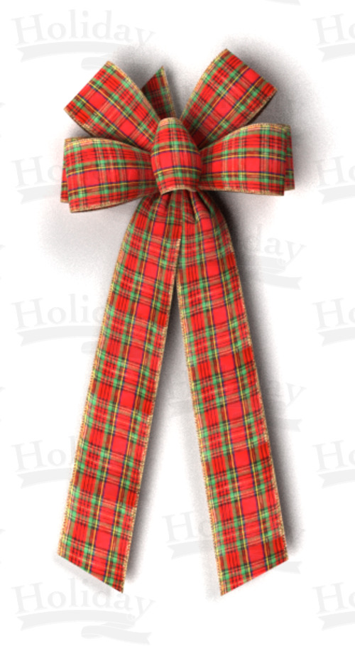 #40 Six Loop Wired Traditional Plaid Bow
