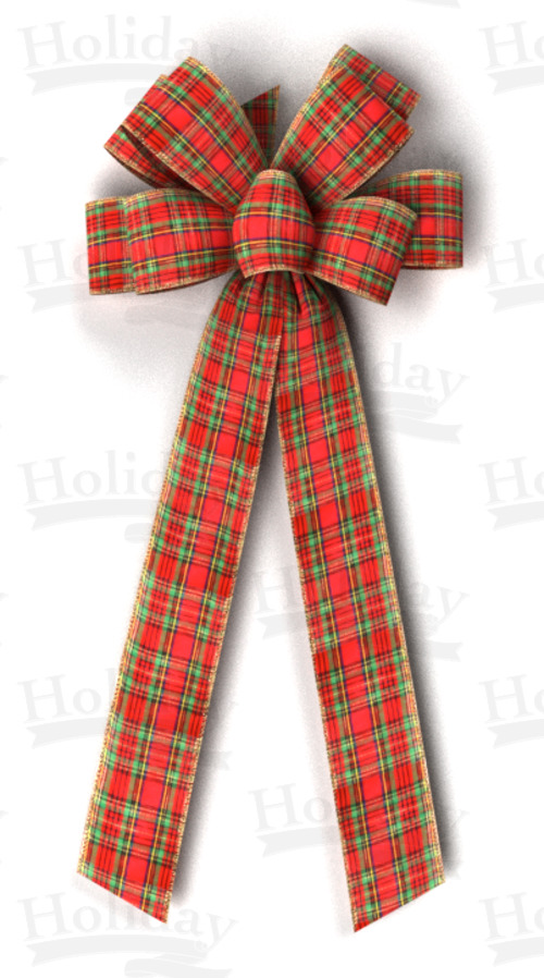 #40 Eight Loop Wired Traditional Plaid Bow