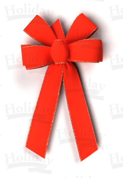 #09 Six Loop Gold Wired Edge Velvet Bow/RED - Click Image to Close