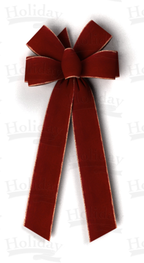 #40 Six Loop Wired Velvet Bow/BURGUNDY - Click Image to Close