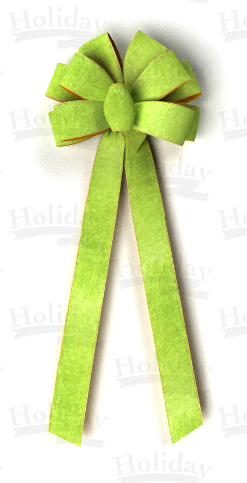 #40 Ten Loop Wired Velour Ribbon w/Gold Back Bow/MOSS - Click Image to Close