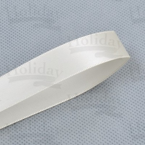 Double Face Satin Ribbon, Ivory, 7/8 inch (22 mm)