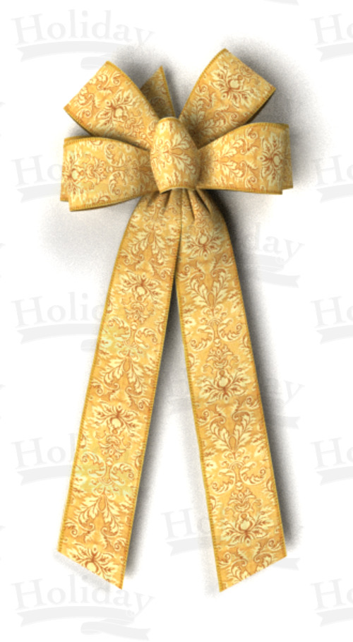 #40 Six Loop Bow, Tapestry Pattern/GOLD, Self Woven Edge