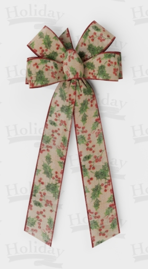 #40 Six Loop Bow, Holly and Berries on Natural Burlap