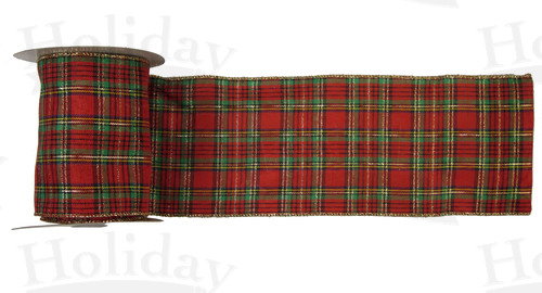 "#100 Ribbon, 4""X50Y, Wired Traditional Plaid"