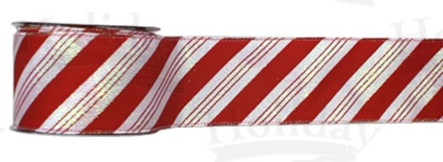 "#40 Ribbon, 2.5""X25Y, Candy Cane Stripe, Woven Edge"