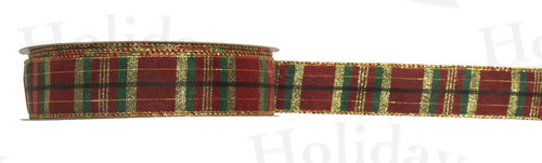 "#9 Ribbon, 1.5""X50Y, Wired Plaid, BURGUNDY"