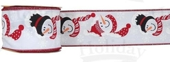 "#40 Ribbon, 2.5"" x 25Y, Snowmen w/ Scarves & Hats on White w/ Re"