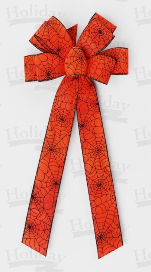 #40 Eight Loop Bow, Black Halloween Web on Orange w/ Black Edge