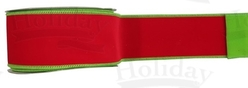 "#40 Ribbon, 2.5"" x 25Y, Red/Chartreuse Reversible Velvet"