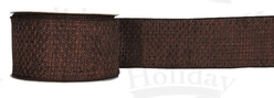 "#40 Ribbon, 2.5"" x 25Y, Chocolate Weave with Chocolate Edge"