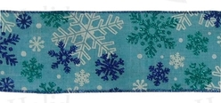 "#40 Ribbon, 2.5"" x 25Y, Wht/Teal/Royal Snowflakes on Lt Blue Lin"