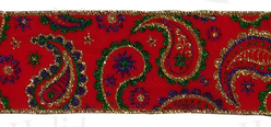 "#40 Ribbon, 2.5"" x 25Y, Gold/Green/Royal Paisley on Red Velvet"