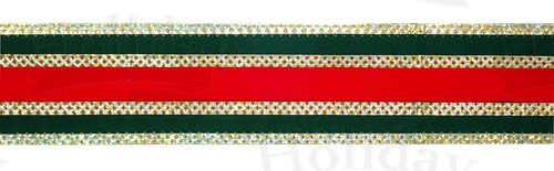 "#9 Ribbon, 1.5""X25Y, Red/Green/Gold Gucci Pattern"