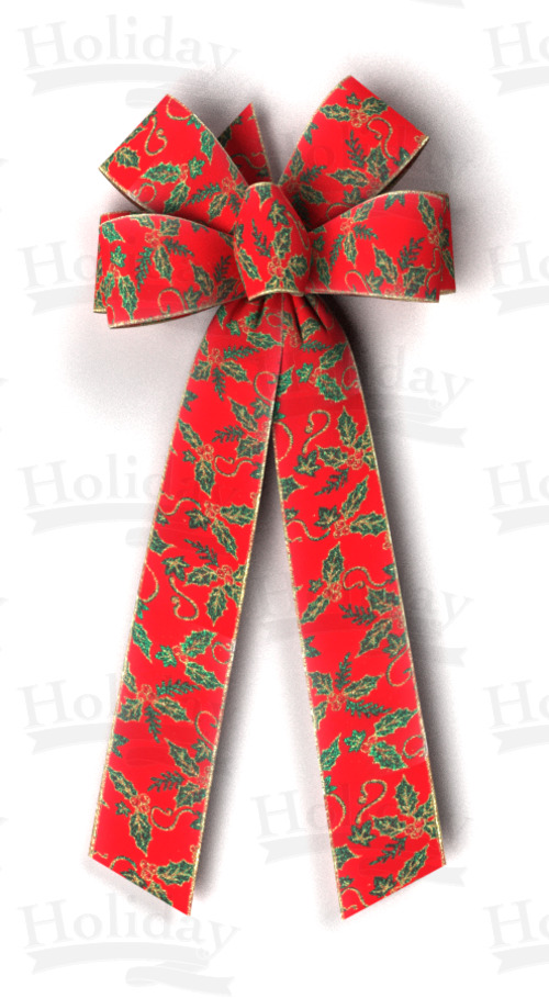 #40 Six Loop Bow, Glitter Holly on Red Velvet