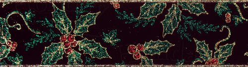 #40 Ribbon, Glitter Holly on Burgundy Velvet with Gold Wired Edg