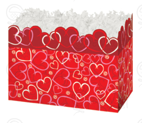 "Basket Box , Large, 10.25"" x 6"" x 7.5"", Layered Hearts, Pack of"