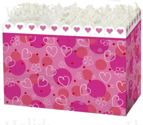 "Basket Box , Large, 10.25"" x 6"" x 7.5"", Scalloped Hearts, Pack o"