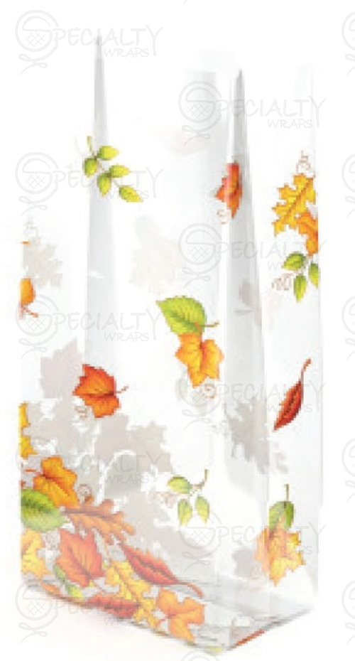 "Printed Cello Rolls & Bags, Leaf Pile, 3.5"" x 2"" x 7.5"", Clear,"