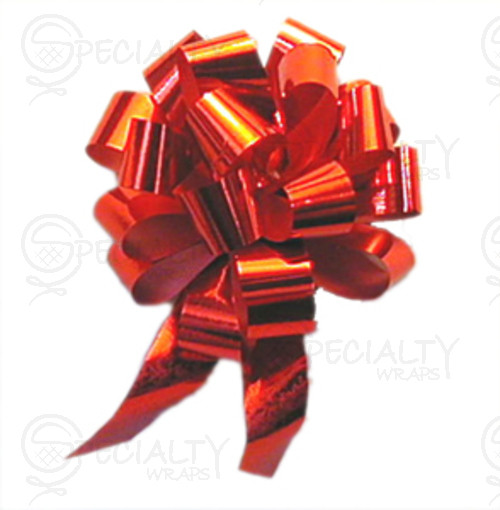 "Metallic Pull-Bow, 8"", 20 x #40 (2-1/2""), Red, Pack of 50"