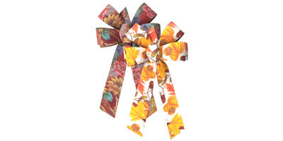 #09 Six Loop Poly Prints Bow/ASSORTED HARVEST