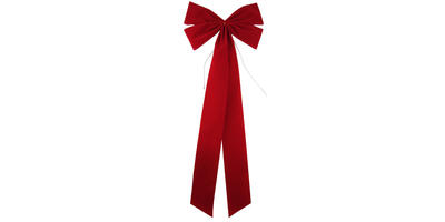 15 inch wide Velvet Value Bow, 4 Loops/RED