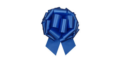 #100 Poly satin pull bow/BLUE/5 PACK