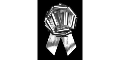 #100 Poly satin pull bow/METALLIC SILVER/5 PACK