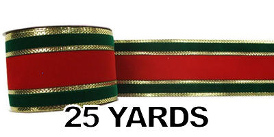 "#40 Ribbon, 2.5""X25Y, Red/Green/Gold Gucci Pattern"