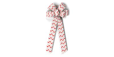 #40 Eight Loop Bow, Glitter Silver/Red Chevron Print on White