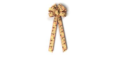 #40 Ten Loop Bow, Owl Print on Light Tan, Red Wired Edge