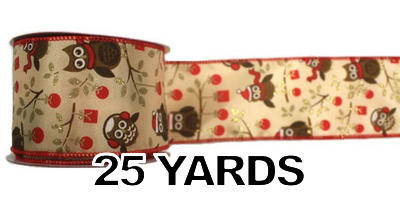 "#40 Ribbon, 2.5""X25Y, Owl Print on Light Tan, Red Wired Edge"