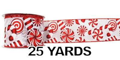 "#40 Ribbon, 2.5""X25Y, Red Mints Print on White, Red Wired Edge"