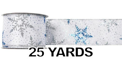 "#40 Ribbon, 2.5""X25Y, Silver/Blue Snowflakes Print on White"
