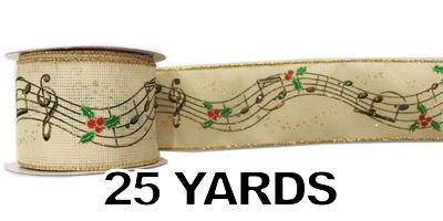"#40 Ribbon, 2.5""X25Y, Musical Score Print on Light Tan"
