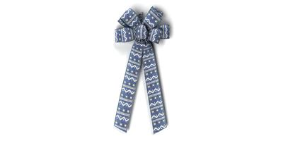 "#40 Eight Loop Bow, Painted Blue ""Denim"" Print, Self Wired Edge"