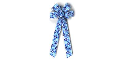 #40 Eight Loop Bow, Blues Snowflake Check Print