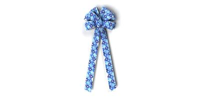 #40 Ten Loop Bow, Blues Snowflake Check Print, Silver Wired Edge