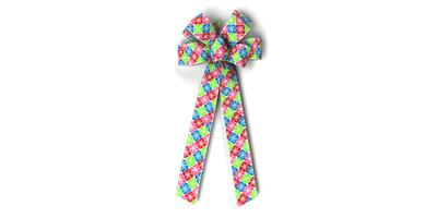 #40 Eight Loop Bow, Multi-color Snowflake Check Print