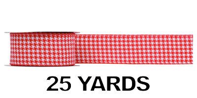 "#40 Ribbon, 2.5""X25Y, Houndstooth Check Wired Red/White"