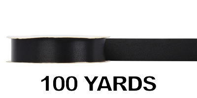#09 Poly Satin Ribbon/BLACK/100 yds