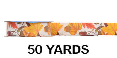 #09 Poly Print Ribbon/HARVEST PRINT-AUTUMN BREEZES/50 yds