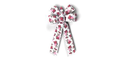 #09 6-Loop Poly Legact Rose Print Bow