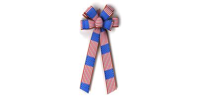 #40 Eight Loop Prints Bow/FLAG STREAMERS