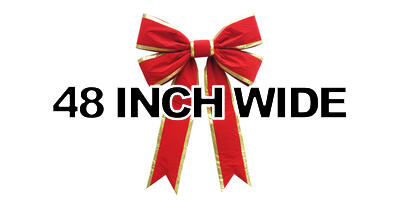 48 inch wide Giant Structural Red Bow, Gold Edge